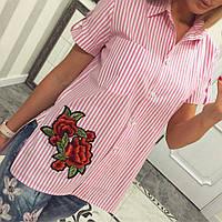 Летняя рубашка из хлопка Роза розовый, фото 1