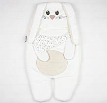 """Теплый спальный конверт для новорожденного """"Белый зайчик"""""""