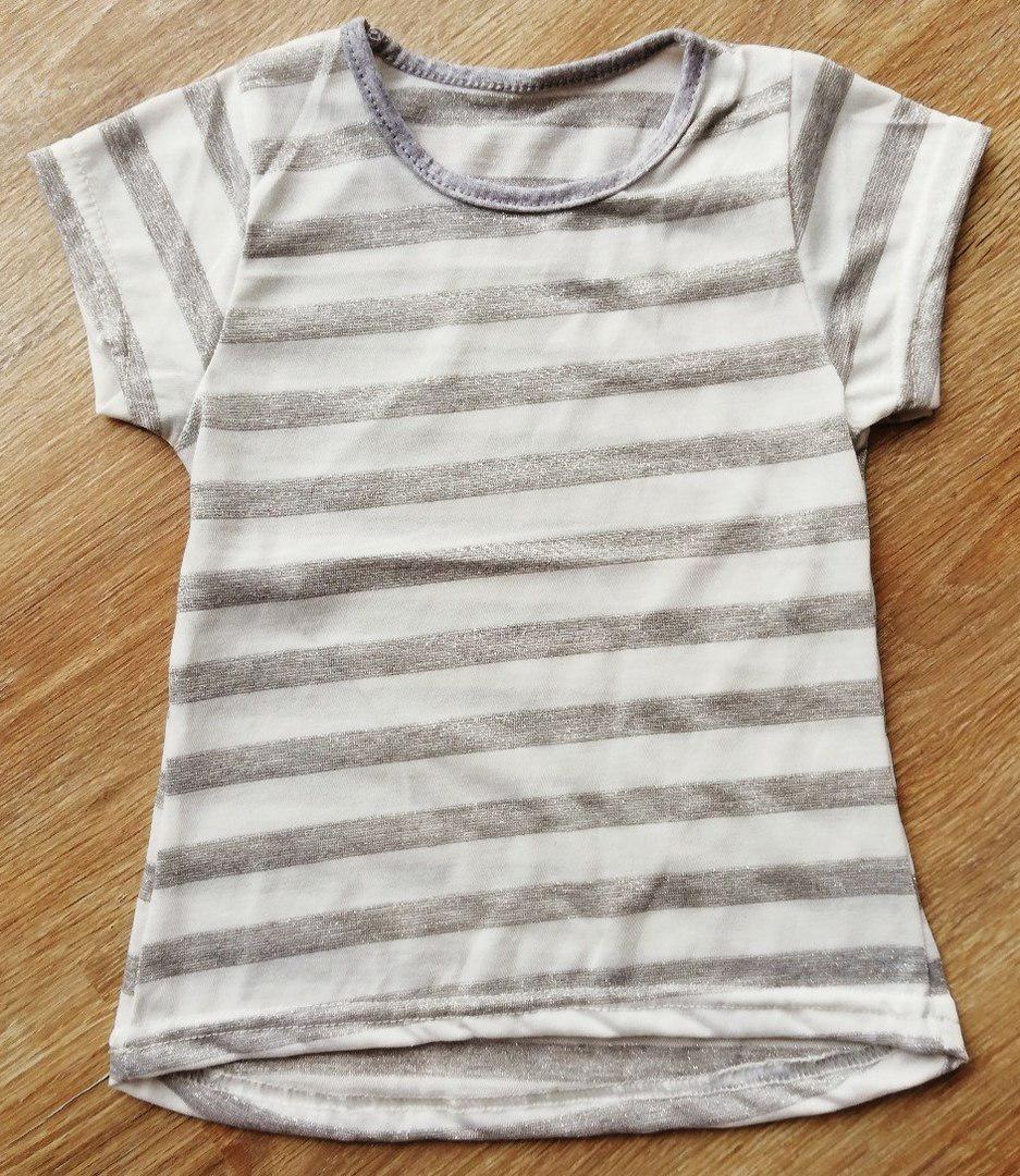 Детская красивая футболка удлиненная Блестящая Полоска серебро и золото