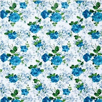 Клеенка ПВХ Folium в рулоне на нетканой основе 1.37*25м Folium MA-1701, рисунок голубые розы на белом фоне