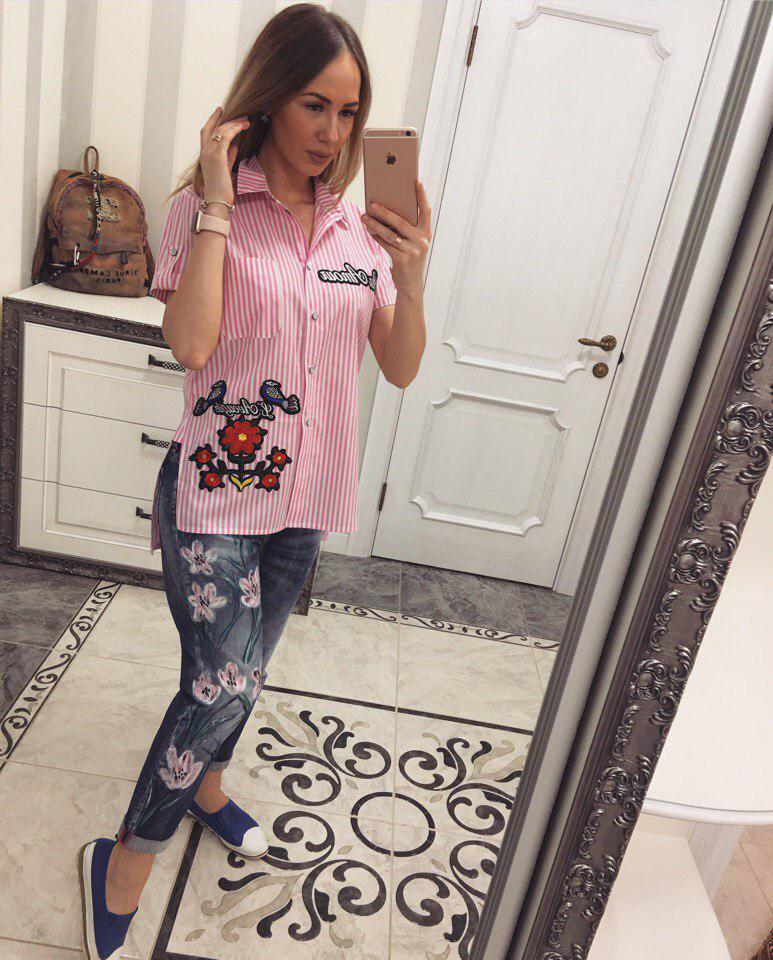 Летняя рубашка из хлопкаЦветы+птицы розовый