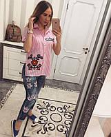 Летняя рубашка из хлопкаЦветы+птицы розовый, фото 1