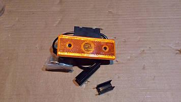 Фонарь боковой габаритный LED оранж, прямоугольный с кронштейном