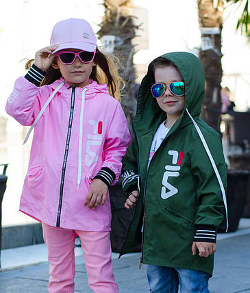 """Детская демисезонная куртка-ветровка унисекс """"FILA"""" с капюшоном (2 цвета), фото 2"""