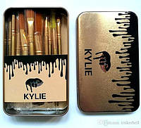 Кисти KYLIE brush золото 12 шт ( набор кистей )