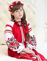 Плаття вишите Трояндове (6-12 років, домоткане полотно), фото 1