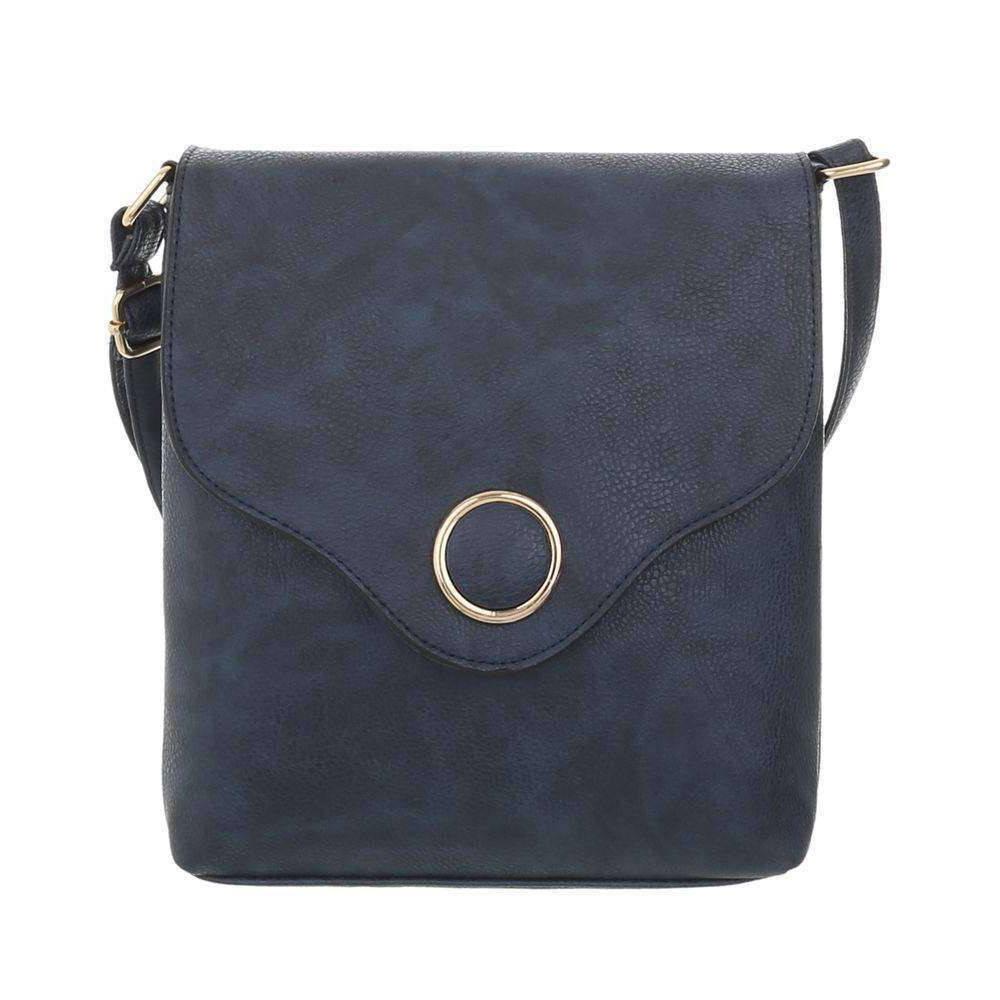 Женская сумка-месенджер с металлическим кругом из экокожи(Европа) Синий