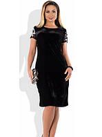 Черное женское платье из бархата размеры от XL ПБ-406
