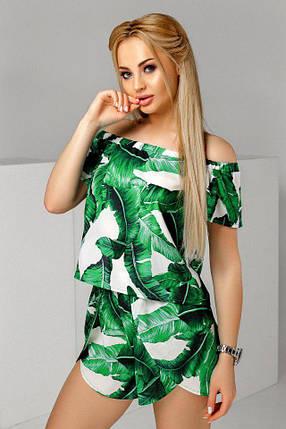 """Летний шифоновый женский костюм-двойка """"PANAMA"""" с шортами, фото 2"""