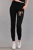 Лосины женские с мультяшными героями (реплика) Louis Vuitton черного цвета