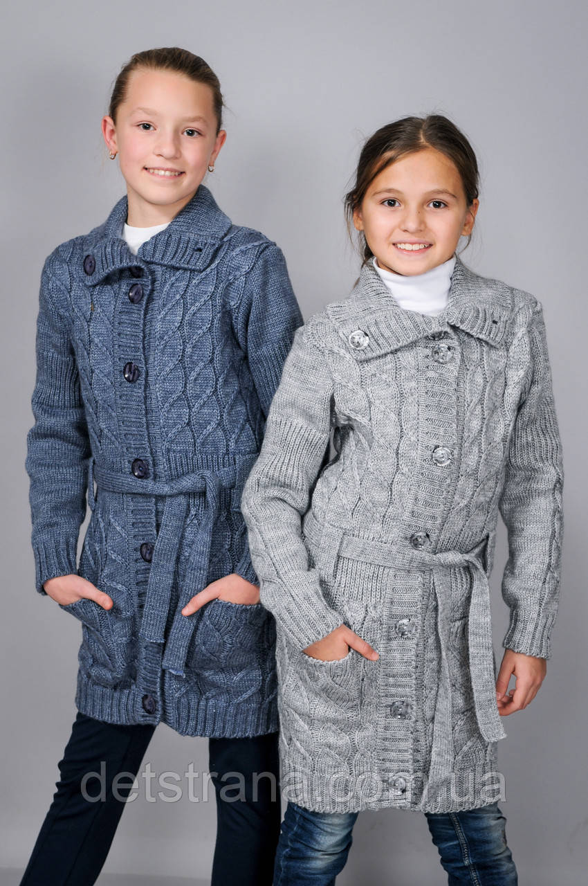 Детский вязанный кардиган с карманами для девочки