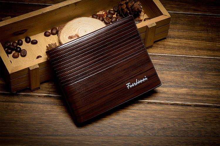 Мужское портмоне  Fuerdanni,  классического стиля, темно-коричневого цвета