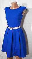 Яркое летнее синее платье для девушки из шифона