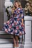 Красивое Яркое Платье на Лето с Цветами Темно-Синее М-2XL