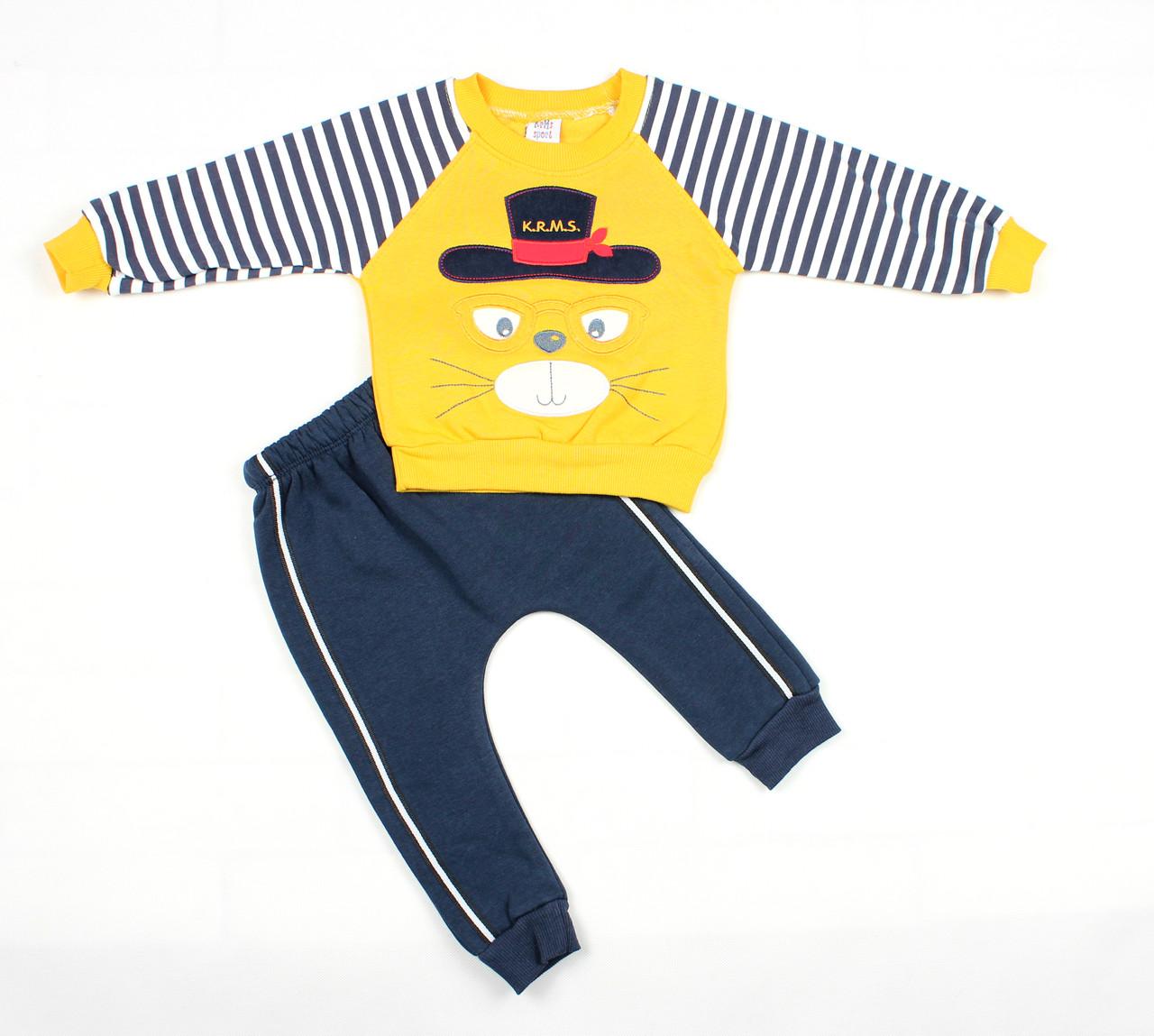 """Теплый спортивный детский костюм желто-синего цвета для мальчика """"Кот-матрос"""""""