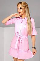 """Прямое хлопковое платье-рубашка """"AMBER"""" с оборками (2 цвета)"""
