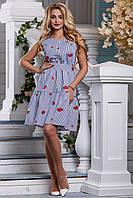 Милое Летнее Платье из Хлопка Синее в Полоску с Вышивкой М-2XL, фото 1