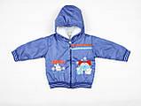 Детский утепленный зимний костюм из непромокаемой плащевой ткани синего цвета, фото 2