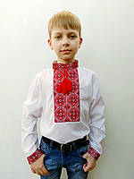 Вышиванка для мальчика Тимофей с красно-черным геометрическим узором