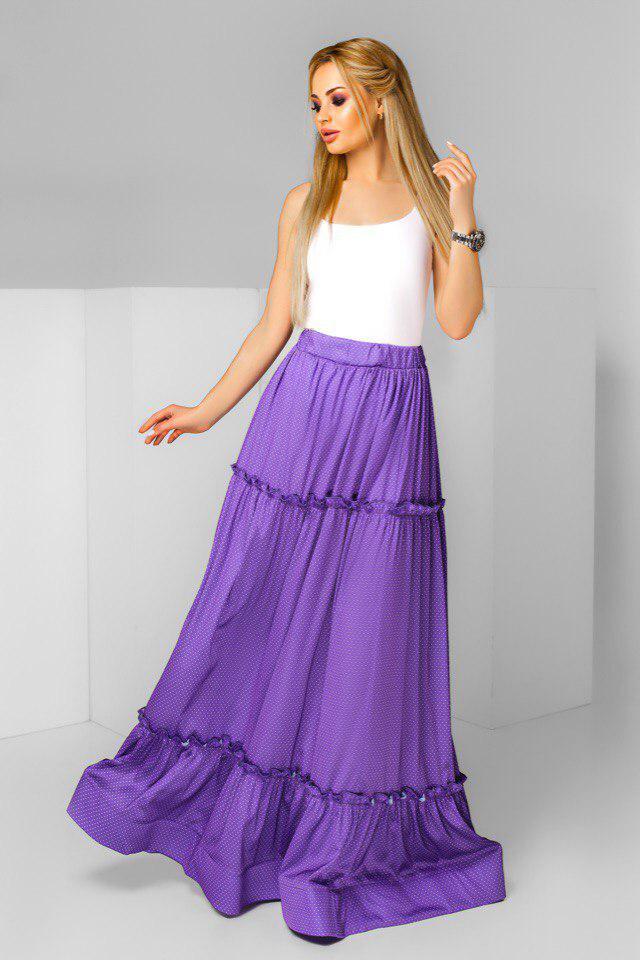 """Длинная шелковая юбка на резинке """"SILVIA"""" с оборками (4 цвета)"""