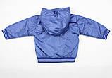 Детский утепленный зимний костюм из непромокаемой плащевой ткани синего цвета, фото 5