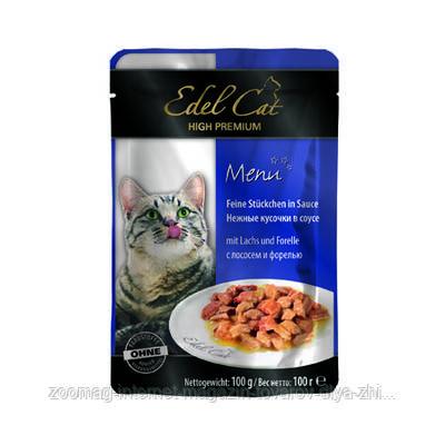"""Влажный корм Edel Cat """"Лосось и форель"""" 8/4,5 (для котов и кошек), 100 гр"""