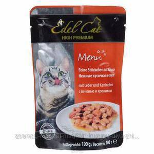 """Влажный корм Edel Cat """"Птица и кролик"""" 8/4,5 (для котов и кошек), 100 гр"""