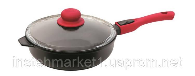 Сковорода БИОЛ 2406ПС (діаметр 240 мм), алюмінієва з антипригарним покриттям Greblon C3+ PEEK, кришка