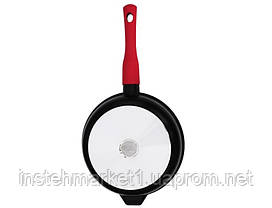 Сковорода БИОЛ 2406ПС (діаметр 240 мм), алюмінієва з антипригарним покриттям Greblon C3+ PEEK, кришка, фото 2