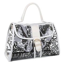 Женская прозрачная сумка из прозрачного пластика (Европа) Черный/Белый