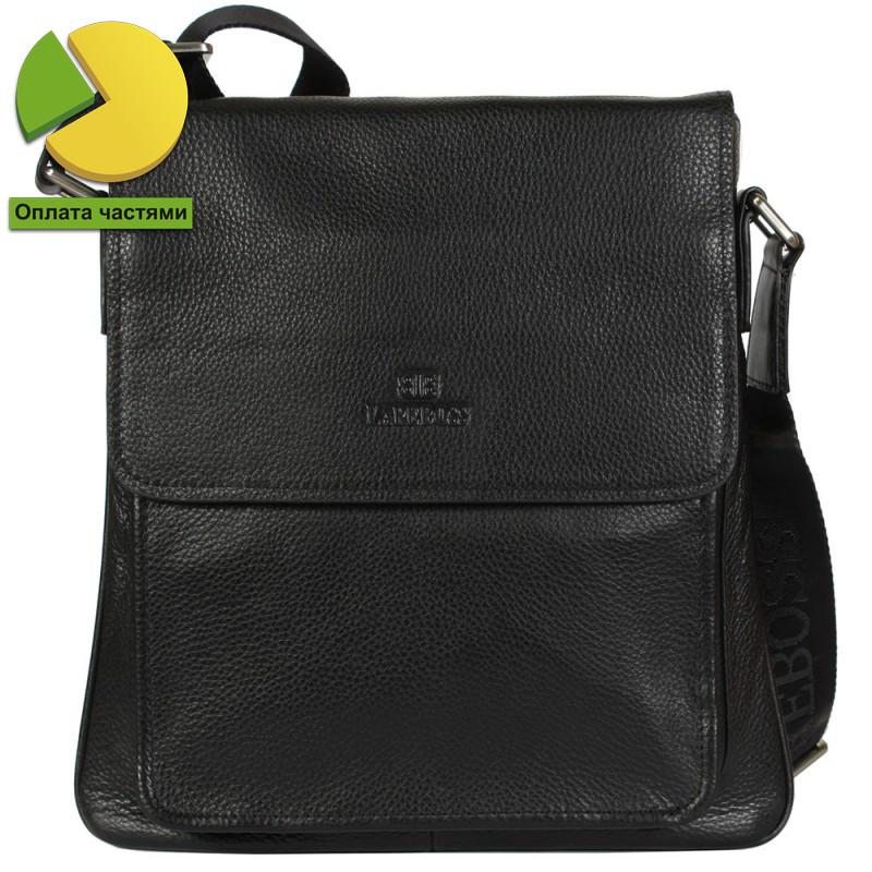 7194cc4080de Добротная мужская сумка через плечо для документов черная Lare Boss  (Италия) LB00146-21