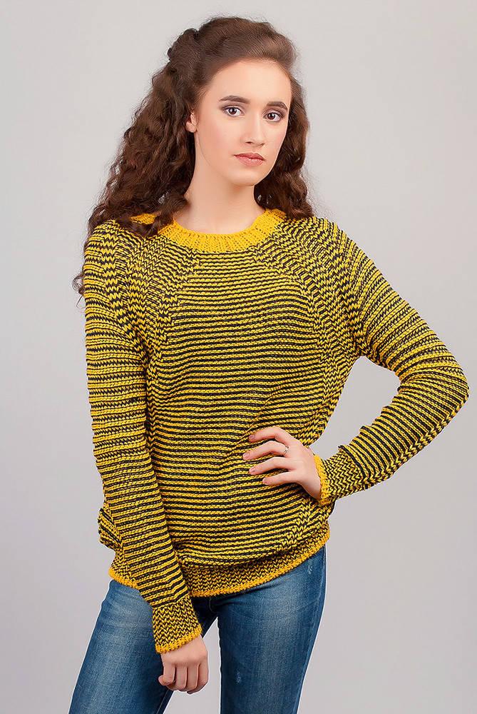 Свитер женский вязаный, теплый №271F002 (Желто-черный)