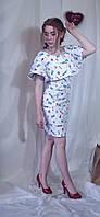 Сукня жіноча волан стрейч бавовна дівчатка та інші принти Платье женское девочки