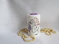 Интерьерная свеча ручной работы Фиолетовое настроение Подарок влюбленным на годовщину свадьбы, фото 1