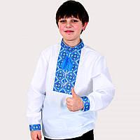 Белая вышиванка для мальчика Тимофей голубым орнаментом