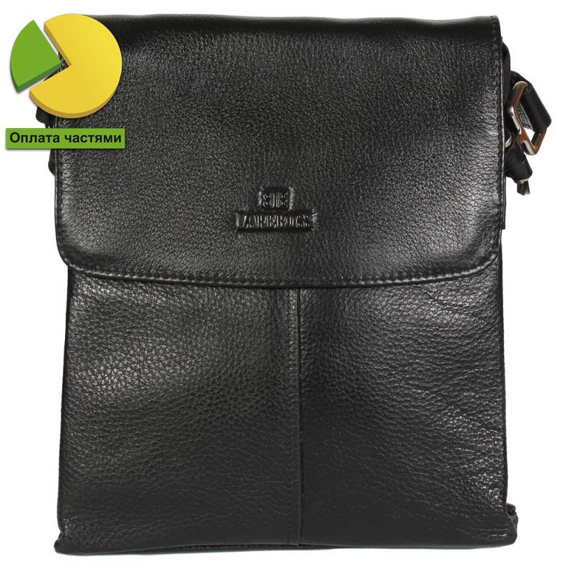 Повседневная мужская кожаная сумка-планшетка черная (Италия) Lare Boss