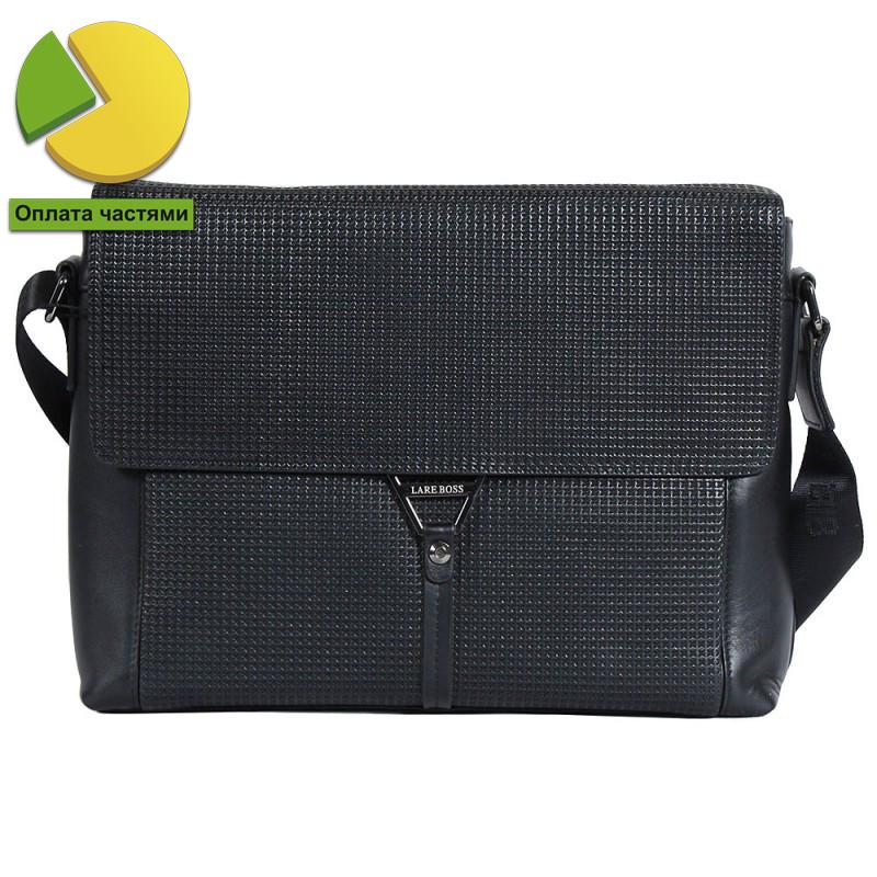 Деловая мужская кожаная сумка формата А4 черная (Италия) Lare Boss LB0