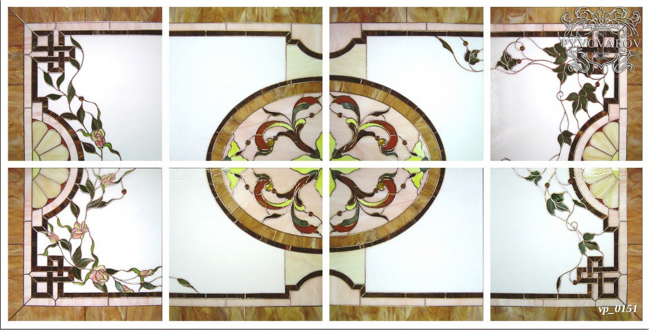 Витражный потолок армстронг в технике Тиффани