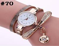 Женские кварцевые наручные часы / годинник Carude с ремешком  коричневого цвета(70)