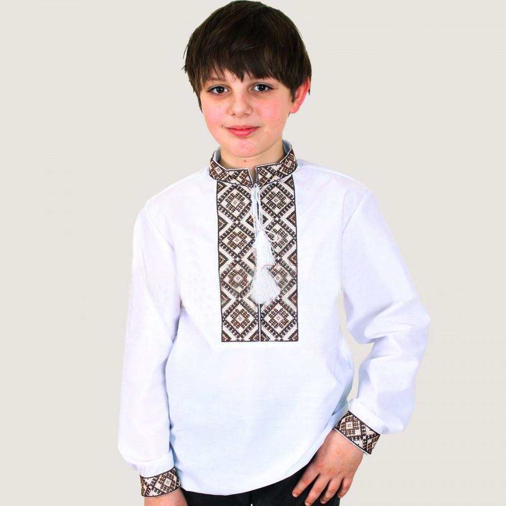 Вышиванка для мальчика Тимофей с коричневым узором