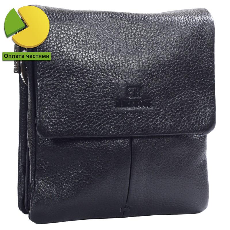 Небольшая мужская кожаная сумка через плечо черная Lare Boss LB0038369