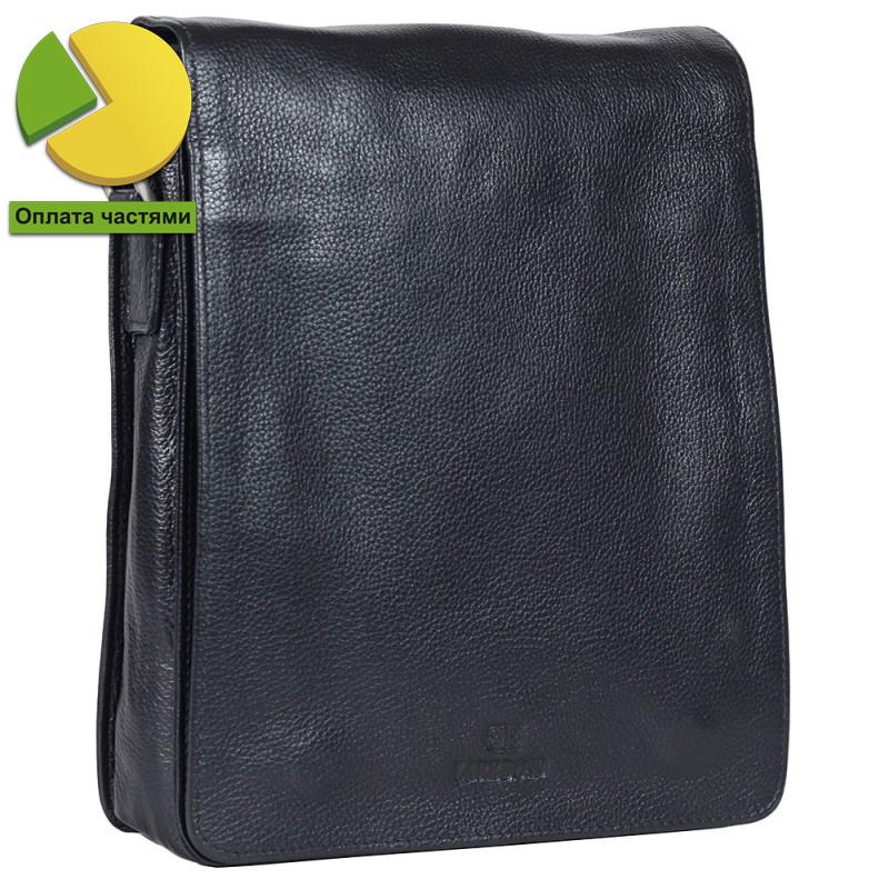 Надежная мужская кожаная сумка черная Итальянского бренда Lare Boss LB