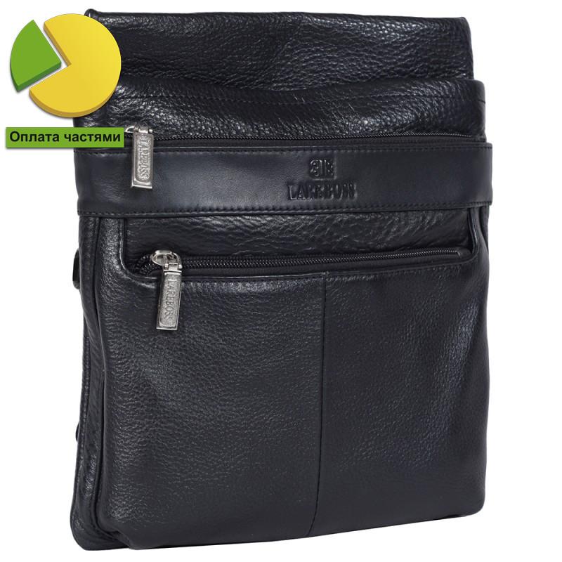 Практичная мужская кожаная сумка черная от Итальянского бренда Lare Bo