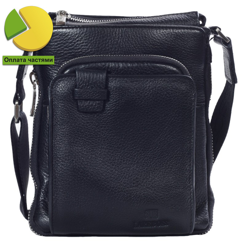 Необычная мужская кожаная сумка черная от Итальянского бренда Lare Bos