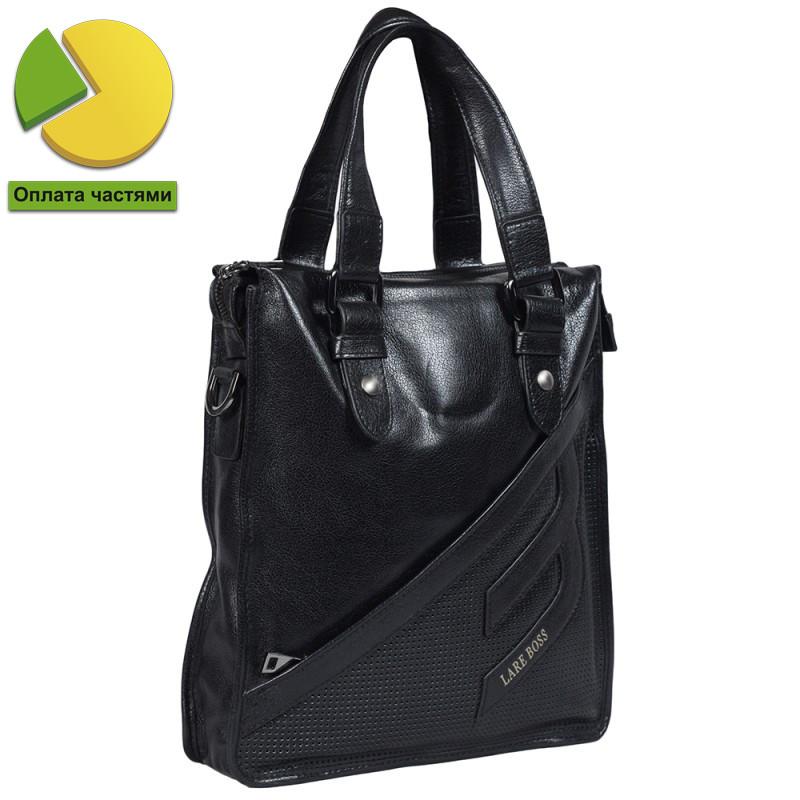Вертикальная мужская кожаная сумка формата А4 черная Lare Boss (Италия