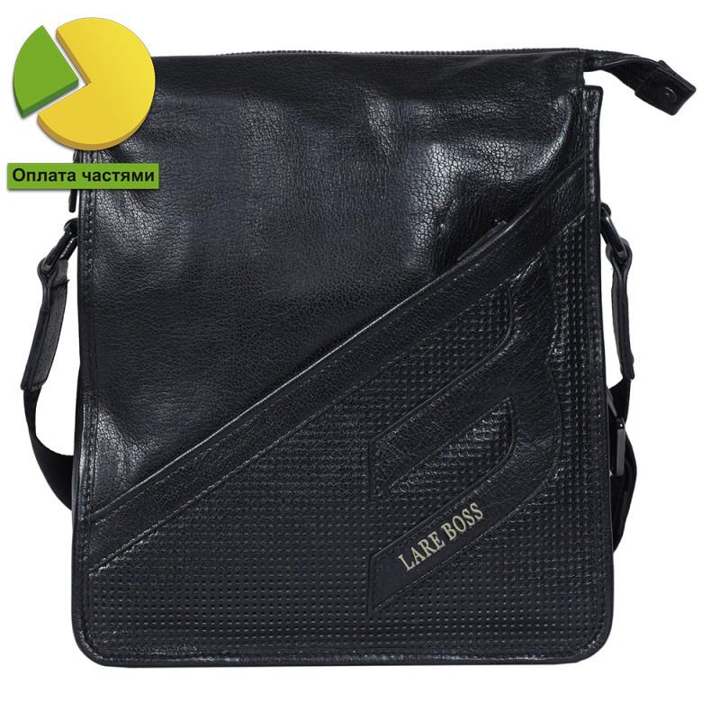 Мужская сумка из натуральной кожи черная Итальянского бренда Lare Boss