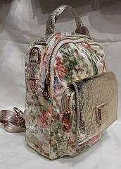 Молодёжный рюкзак из натуральной кожи.Красивый летний рюкзак.