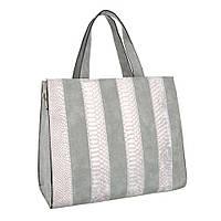 Женская сумка тоут, комбинация замши и экокожи под рептилию (Европа) Серый