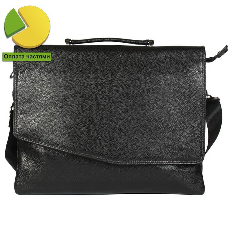 Мужская кожаная сумка-портфель черная Tofionno TF00W007-71