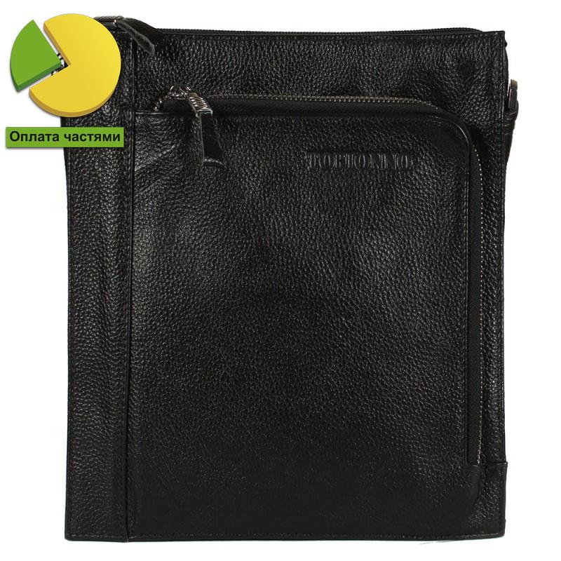Мужская кожаная сумка-планшетка черная отличного качества Tofionno TF0